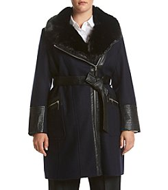Via Spiga® Plus Size Asymmetic Belted Coat