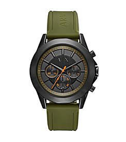 A|X Armani Exchange Men's Chronograph Green Silicone Strap Watch