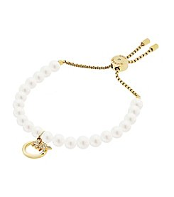 Michael Kors® Modern Classic White Faux Pearl And Simulated Crystal Slider Bracelet