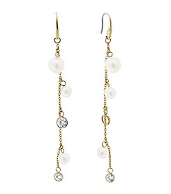 Michael Kors® Modern Classic Faux Pearl And Simulated Crystal Linear Drop Earrings