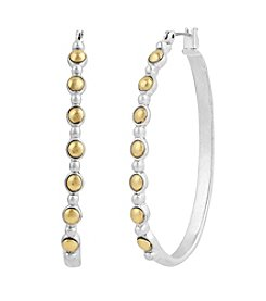 Lucky Brand® Two Tone Oblong Hoop Earrings
