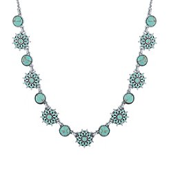 Lucky Brand® Silvertone Turquoise Collar Necklace