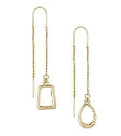 Laundry® Goldtone Mismatched Geo Threader Earrings