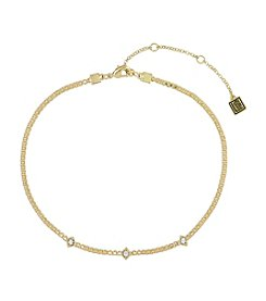 Laundry® Goldtone Simulated Crystal Chain Choker Necklace
