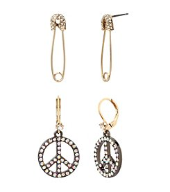 Betsey Johnson® Safety Pin And Peace Sign Earrings Set