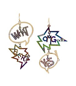 Betsey Johnson® Simulated Crystal Speech Bubble Earrings