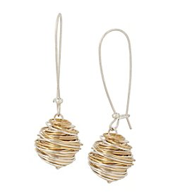 Robert Lee Morris Soho™ Two Tone Wire Ball Drop Earrings