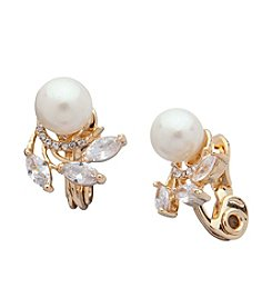 Anne Klein® Glass Pearl Clip On Button Earrings