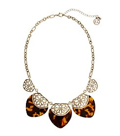 Erica Lyons® Tortoise And Cut Out Charm Frontal Necklace