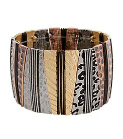 Erica Lyons® Wild Thing Rectangles Wide Stretch Bracelet