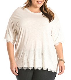 Eyeshadow® Plus Size Drop Shoulder Lace Trim Tee