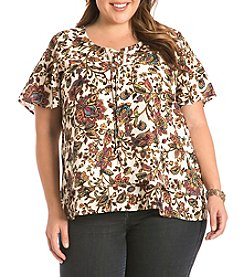 Eyeshadow® Plus Size Lace-Up Floral Print Top
