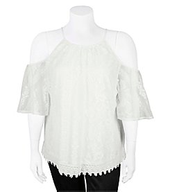 A. Byer Plus Size Lace Cold Shoulder Top