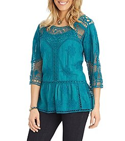 Democracy Embroidered Crochet Top