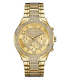 GUESS Women's Goldtone Crystal Bracelet Watch