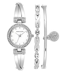 Anne Klein® Silvertone Crystal Accented Bangle Bracelet Set