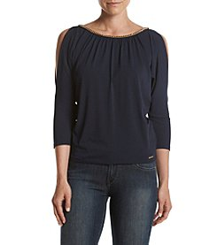 MICHAEL Michael Kors® Petites' Chain Neck Cold Shoulder Top