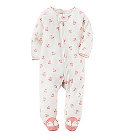 Carter's® Baby Girls' One Piece Fox Print Footed Sleeper