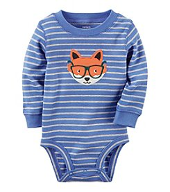 Carter's® Baby Boys Long Sleeve Striped Fox Bodysuit