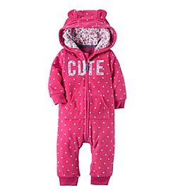 Carter's® Baby Girls Hooded Fleece Jumpsuit