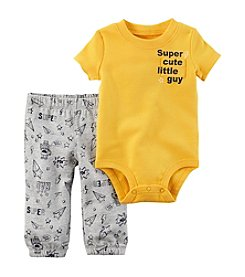 Carter's® Baby Boys 2-Piece Super Cute Little Guy Bodysuit Pants Set