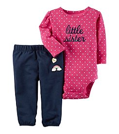Carter's® Baby Girls 2-Piece Little Sister Bodysuit Pants Set