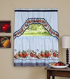 Achim Golden Delicious Printed Tier & Swag Window Curtain Set