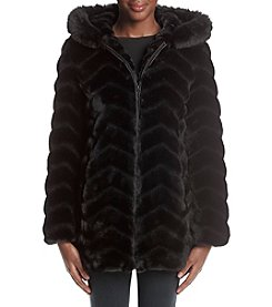 Gallery® Chevron Faux Fur Coat