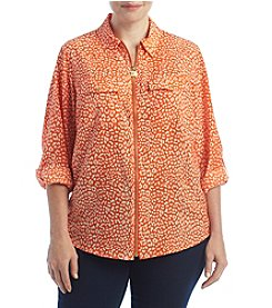 MICHAEL Michael Kors® Plus Size Cheetah Lock Zip Top