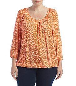 MICHAEL Michael Kors® Plus Size Cheetah Peasant Top