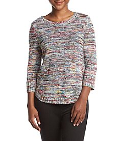 Studio Works® Petites Marled Crew Neck Sweater