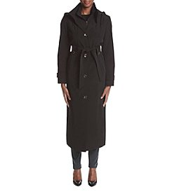 London Fog® Long Belted Bib Rain Coat