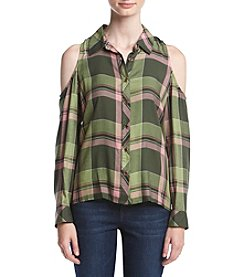 Sequin Hearts® Cold Shoulder Plaid Top