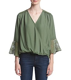 Sequin Hearts® Wrap Top W/ Lace Trim