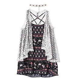Beautees Girls' 7-16 3 Piece Sleeveless Vest and Print Top