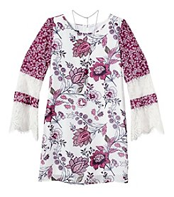 Amy Byer Girls 7-16 Long Sleeve Floral Shift Lace Dress