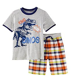 Nannette Boys' 2T-4T Dino Roar Shirt with Plaid Shorts Set