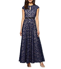 Alex Evenings® Keyhole Belted Long Dress