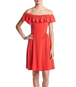 Ivanka Trump® Ruffle Off Shoulder Dress