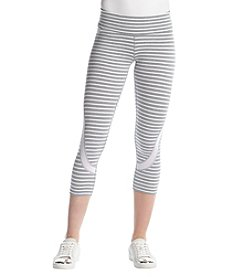 Calvin Klein Performance Pacifica Stripe Cropped Mesh Trim Leggings