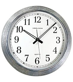 Timekeeper 16 inch Galvanized Metal Silver Wall Clock