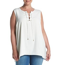 Calvin Klein Plus Size Lace Up Top