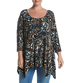 Cupio Plus Size Scoop Neck Printed Tee