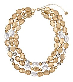 The Sak® Three Row Goldtone and Clear Bead Necklace