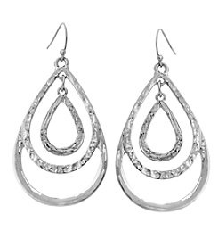 Erica Lyons® Silvertone Three Layer Teardrop Earrings