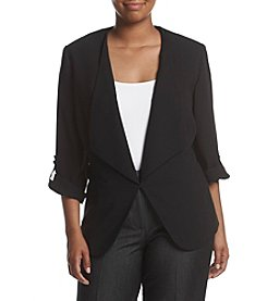 Nine West® Plus Size Crepe Wide Lapel Jacket