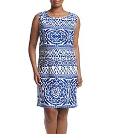 Taylor Dresses Plus Size Geo Print Scuba Dress