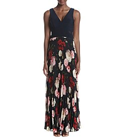 Xscape Pleat Chiffon Print Long Dress