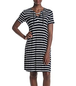 AGB® Stripe Lace Up Dress