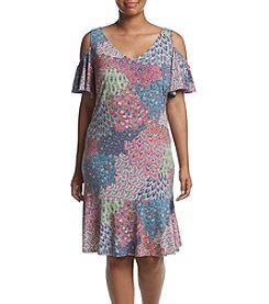 Prelude® Plus Size Flounce Cold Shoulder Dress